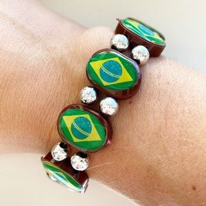 Vintage Brazilian flag beaded stretch bracelet